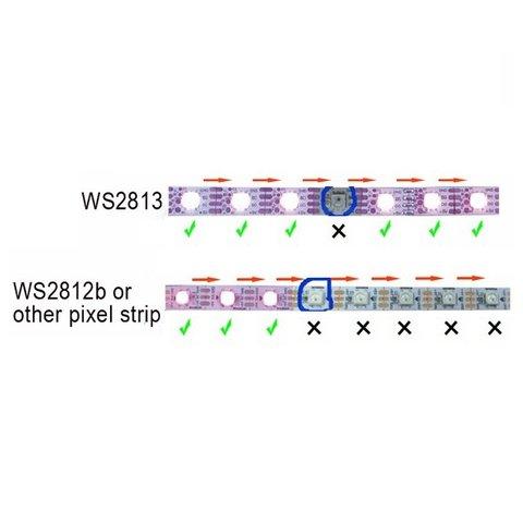 Світлодіодна стрічка RGB SMD5050, WS2813 (чорна, з управлінням, IP65, 5 В, 60 діодів/м, 5 м) - Перегляд 3
